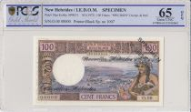 Nuovi Hébrides 100 Francs Tahitienne - 1970 - Specimen - PCGS 65 OPQ