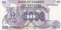 Ouganda 10 Shillings - Armoiries - Animaux - 1982