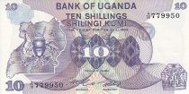 Ouganda 10 Shillings - Armoiries - Animaux - 1982