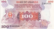 Ouganda 100 Shillings - Armoiries - Animaux - 1982