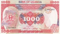 Ouganda 1000 Shillings Armoiries - Immeuble - 1986