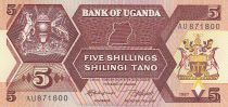 Ouganda 5 Shillings - Armoiries - Animaux - 1987