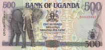 Ouganda 500 Shillings - Éléphant - Maison - 1994