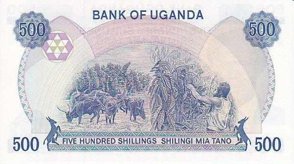 Ouganda 500 Shillings Président Milton Obote - Troupeau, récolte