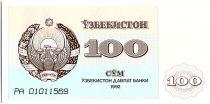 Ouzbékistan 100 Sum,  Armoiries  - Mosquée - 1992 - P.67