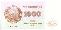 Ouzbékistan 1000 Sum,  Armoiries  - Mosquée - 1992 - P.70
