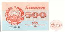 Ouzbékistan 500 Sum,  Armoiries  - Mosquée - 1992 - P.69b