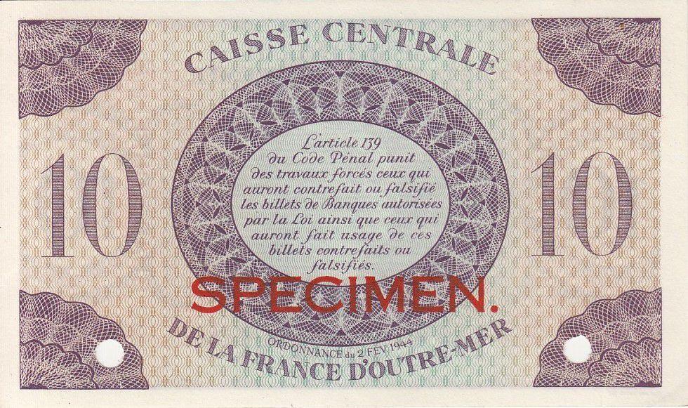 P.27 10 Francs, Marian - Cross of Lorraine - 1944 Specimen