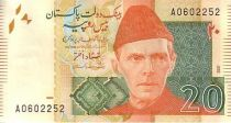 Pakistan 20 Rupees M. Ali Jinnah - Mohen Jo Daro Larkana -2015