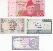 Pakistan Série de 4 billets du Pakistan - 1 à 100 Rupees