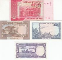 Pakistan Set of 4 banknotes from Pakistan - 1 to 100 Rupees