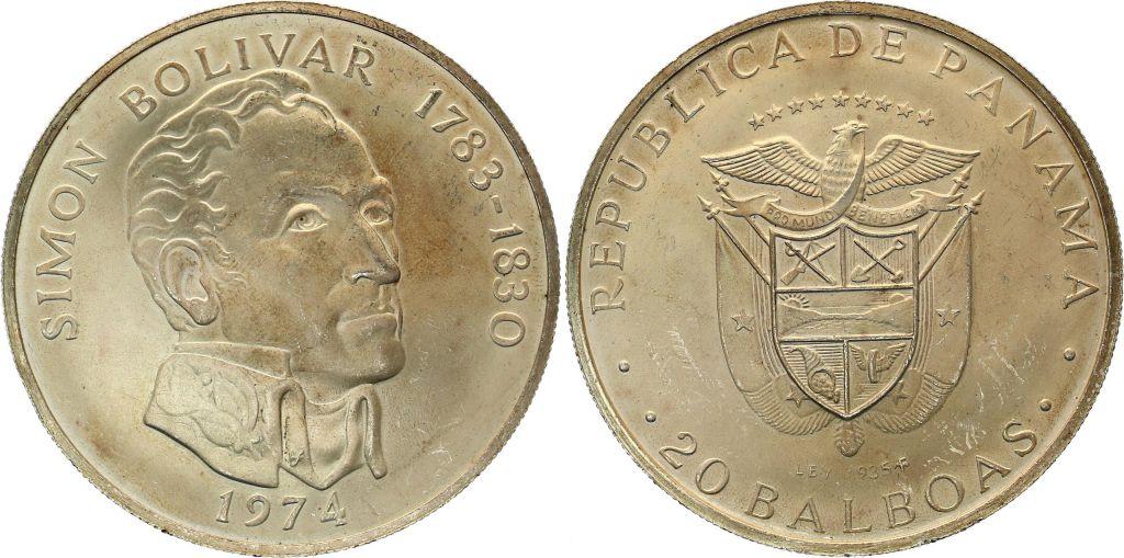 Panama 20 Balboas Simon Bolivar - Argent 1974