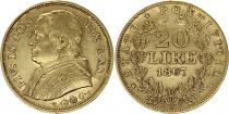 Papal States 20 Lire Pius IX - XXII -1867 R Roma - Gold