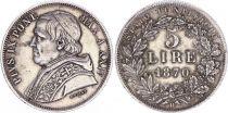 Papal States 5 Lire,  Pie IX - XXIV - 1870 R Rome