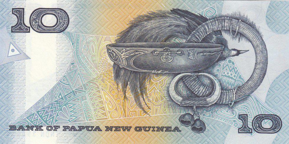 Papouasie-Nouvelle-Guinée 10 Kina Oiseau de Paradis - Artisanat - 1988