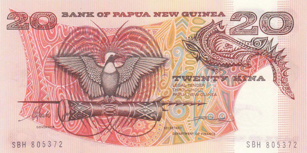 Papouasie-Nouvelle-Guinée 20 Kina Oiseau de Paradis - Sanglier - Série SBH - 1988
