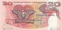 Papua New Guinea 20 Kina Bird of Paradise - Head of boar - Serial SBD - 1988