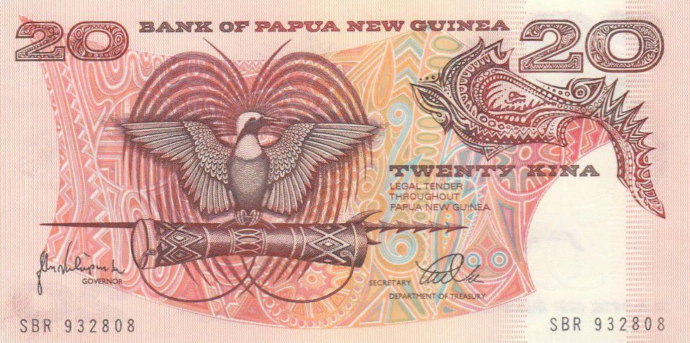 Papua New Guinea 20 Kina Bird of Paradise - Head of boar - Serial SBR - 1988
