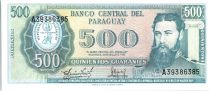 Paraguay 500 Guaranies - Général Bernardino Caballero - Cargo - ND L.1952 (1963-1982) - Série A