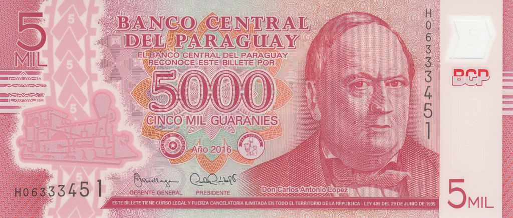 Paraguay 5000 Guaranies Don C. A. Lopez - 2016 Polymer