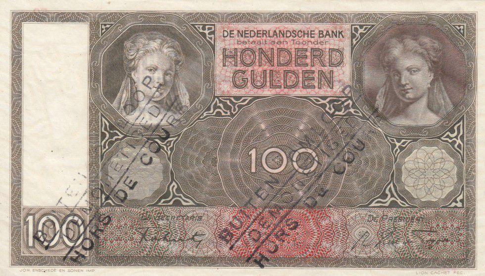 Pays-Bas 100 Gulden Portrait de femme - 1942