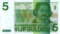 Pays-Bas 5 Gulden  J. Van den Vondel - Motifs géométriques - 1973
