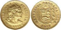 Pérou 1/5 Libra Indien - Armoiries - 1917 - Or