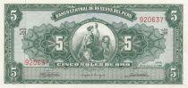 Pérou 5 Soles de Oro 1965 - Liberté assise