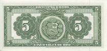 Pérou 5 Soles de Oro de Oro, Liberté assise