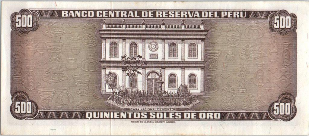Pérou 500 Soles de Oro - Nicolas de Pierola - 1975