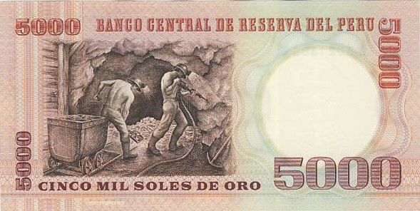 Pérou 5000 Soles de Oro de Oro, F. Bolognesi - Mineurs