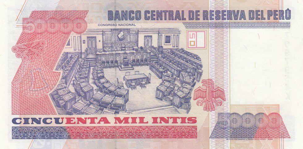 Pérou 50000 Intis Victor Raul Haya de la Torre - Congrès - 1988