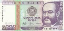 Peru 5000 Intis Amiral M. Gruau - Fishing - 1988