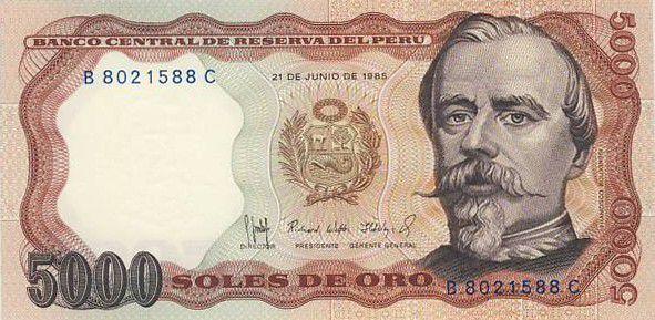 Peru 5000 Soles de Oro de Oro, F. Bolognesi - Miners