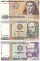 Peru Set of 5 banknotes from Peru - 500 to 100000 Intis