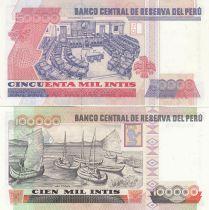 Peru Set of 5 banknotes from Peru - 500 to 100000 Intis