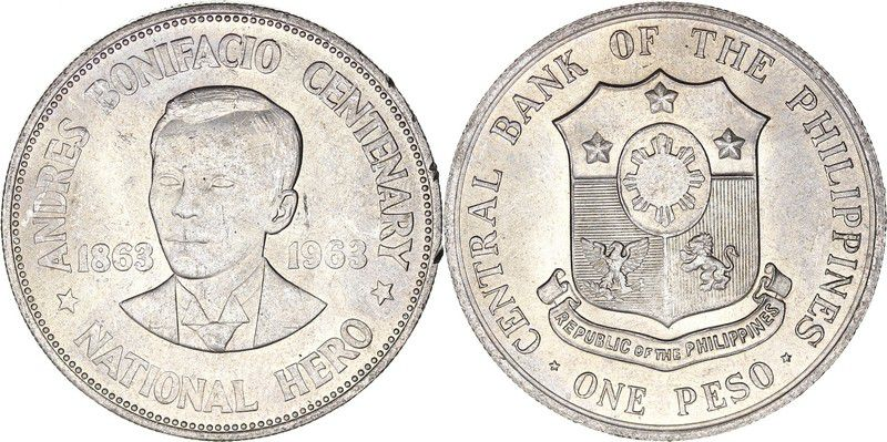 Philippines 1 Peso 100th anniversary of Andres Bonifacio - 1963