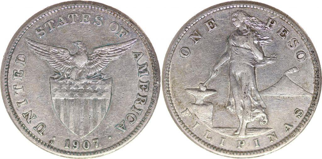 Philippines 1 Peso Femme et forge - Etats Unis - 1907 S San Francisco Argent