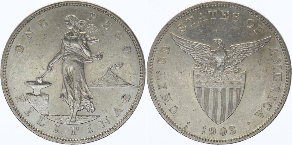 Philippines 1 Peso Woman hammer - United States - 1903 S San Francisco Silver