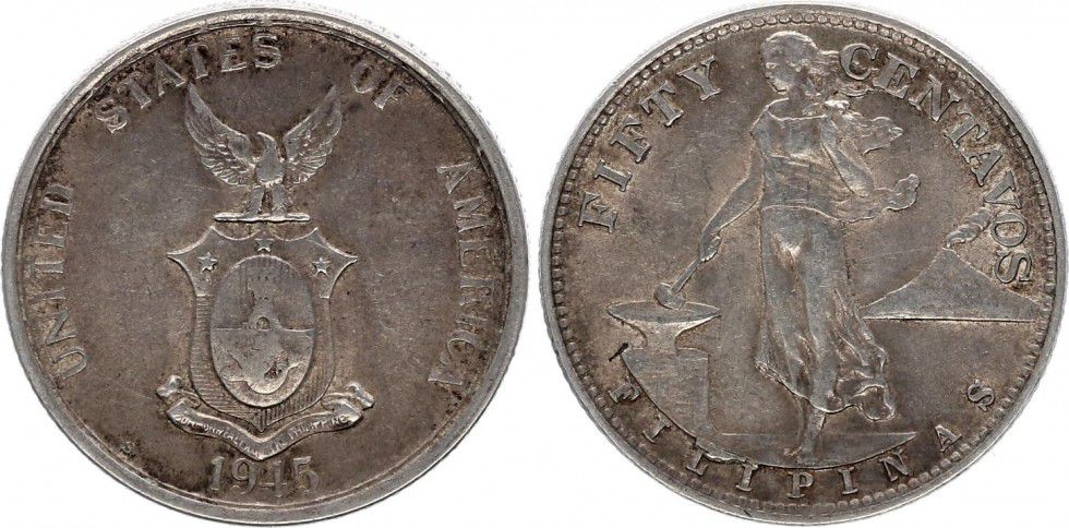 Philippines 50 Centavos Woman and anvil - 1945