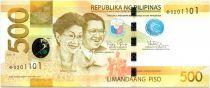 Philippines 500 Pesos Corazon and Begnino Aquino Jr - Parrot - 2015