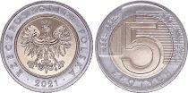Poland 5 Zlotych - Arms 2021 - Bimetal - AU