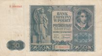 Poland 50 Zlotych 1941 - Young boy, Statue, Building - Serial E