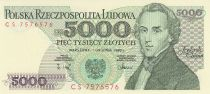 Pologne 5000 Zlotych - Frederic Chopin - Armoiries - Musique - 1988