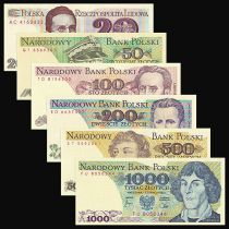 Poland Set of 6 differents banknotes - 20 to 1000 Zlotych - UNC