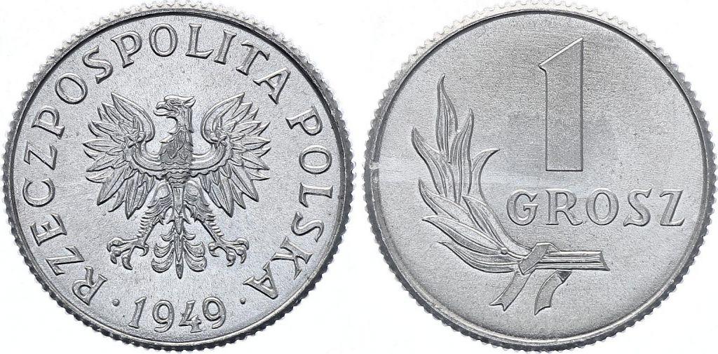 Pologne 1 Grosz - Armoiries - 1949