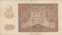 Pologne 100 Zlotych 1940 - Homme barbu, Bâtiment - Série E