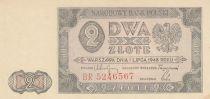 Pologne 2 Zlote 1948  - Armoiries, Bâtiment