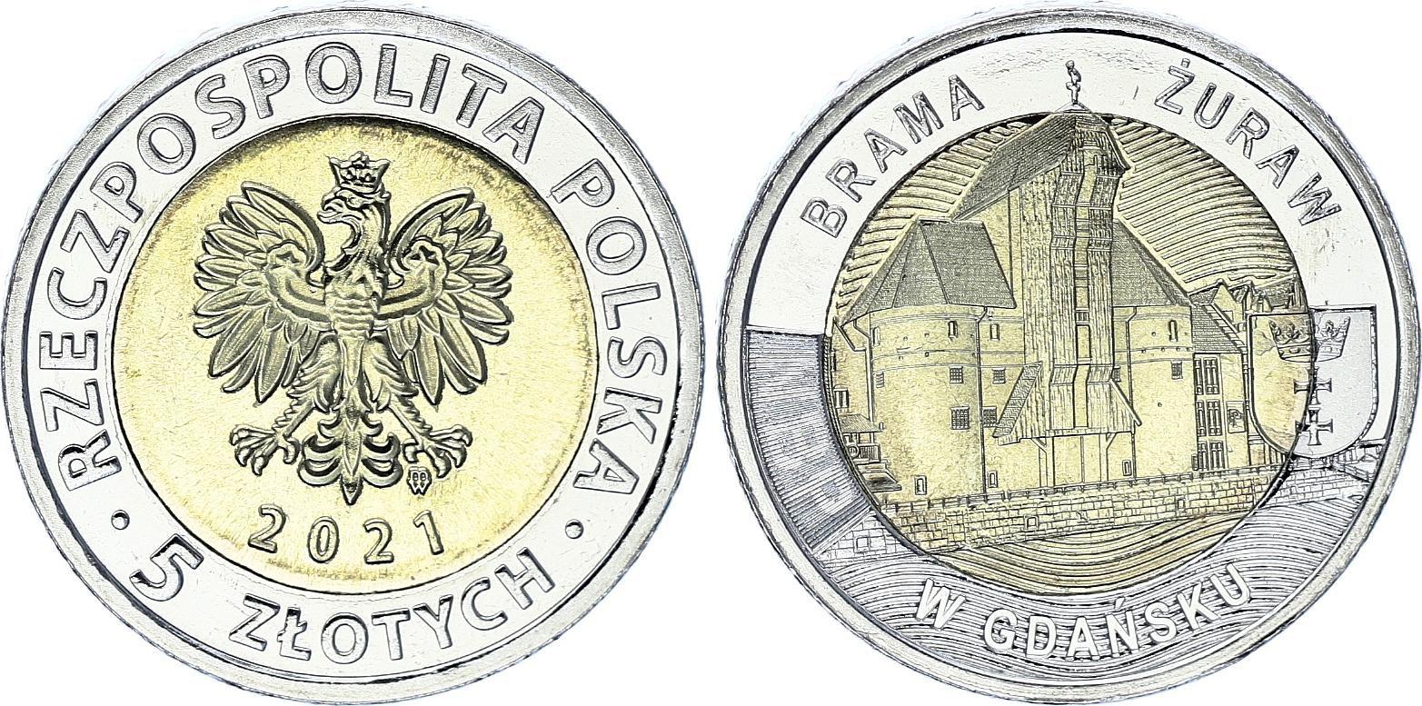 Pologne 5 Zlotych 2021 - Pologne - The Crane Gate - Gdansk - SPL