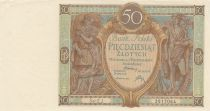 Pologne 50 Zlotych 1929 - Personnages, Bâtiments